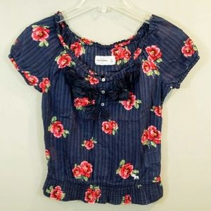 Abercrombie Fitch M Blue Rose Floral Knit Shirt